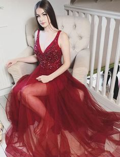 Burgundy Tulle Long Prom Dresses Evening Dresses V Neck with Beading 2208402a719b