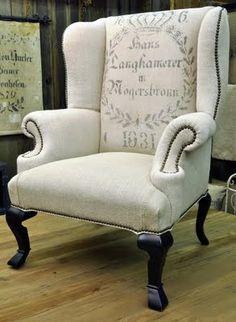 french grain sacks on french chairs - Sharon Santoni