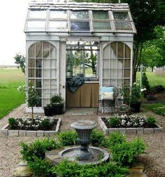 This is a hot tub house but I could see using this as an awesome potting shed! Diy Garden, Dream Garden, Garden Landscaping, Garden Sheds, Garden Whimsy, Herb Garden, Greenhouse Shed, Greenhouse Gardening, Window Greenhouse