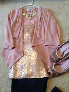 Girls night out outfit. Blush pink tank from Old Navy with short jacket same color from Forever 21 goes great with jeans or fitted grey trouser.