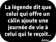 """Je vous offre à tous des calins par milliers """"The legend says that he who offers a hug adds the journey of his life to he who receives. Love My Wife Quotes, Some Quotes, Words Quotes, Sayings, French Quotes, Happy Love, Some Words, Positive Attitude, Beautiful Words"""
