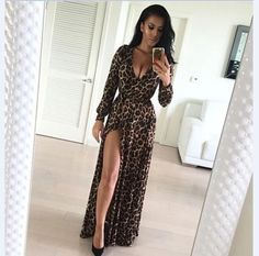Europe Summer Style New Women Dress V-neck Long Dress Sexy nightclub Split Leopard Print Maxi Dress Plus Size