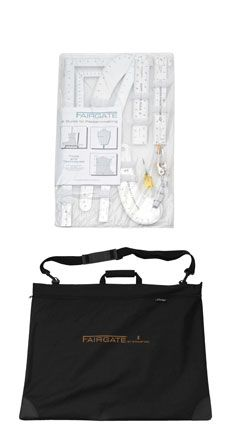 Fashion Designer's Carry-All Kit Everything you need in a handsome briefcase. Kit includes tools for designing, measuring and finishing: Designer's L-square, Half size L-square, Curve Stick, Variform curve, Variform long curve, Straight edge, Cuff width marking rule, and pattern-making guide.