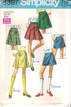Vintage1960s Pleated Mini Skirt,Kilt or Scooter Skirt Sewing Pattern, Simplicity #8397, GrandmaMadeWithLove $8.00