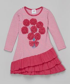 Look what I found on #zulily! Hot Pink Rosette Ruffle Dress - Infant, Toddler & Girls by nktoo by Nohi Kids #zulilyfinds