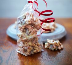 Combine salty crushed pretzels with sweet chocolate and raisins to create bite-sized sweets ideal for a gift hamper