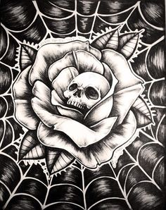 Roses are red the web is blue and this here skull is looking at you! Skull Tattoo Design, Skull Tattoos, Rose Tattoos, Body Art Tattoos, Sleeve Tattoos, Tattoo Designs, Chicano Art Tattoos, Chicanas Tattoo, Tattoo Hals