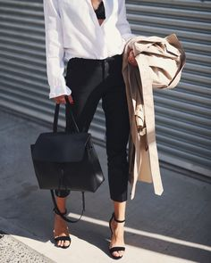 Trench, white shirt and cigarette pants