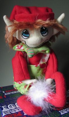 Green and Red Candy Elf by javiegurl03 on Etsy, $25.00