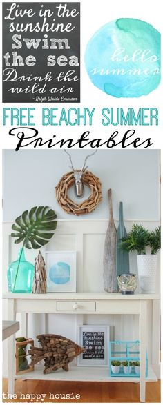 Free Beachy Summer Printables Chalkboard Printable Watercolour Printable at the happy housie