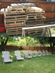With the help of a few tutorials online, we were able to get 8 adirondack chairs out of 22 pallets with plenty of left overs for other projects :)