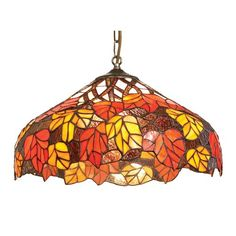CR17 40cm Red And Orange Maple Leaf Tiffany Ceiling Pendant Shade