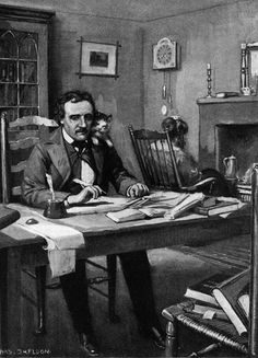 Edgar Allan Poe and his kitty Catarina