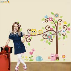 Owl and the kid http://walldecordeals.com/product/owl-wall-decals-colorful-tree-wall-arts-zooyoo1001-cartoon-wall-decal-diy-animal-wall-stickers-for-kids-room-home-decorations/