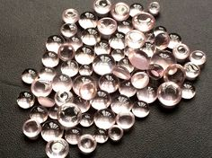 WHOLESALE 15 Pcs Rose Quartz Cabochons Rose by gemsforjewels