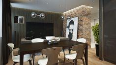 Wohnzimmer im Urban Style - dunkles Holz und rote Ziegel