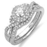 0.55 Carat (ctw) 14k White Gold Round Diamond Ladies Halo Style Bridal Ring Engagement Matching Band Wedding Set $509.00