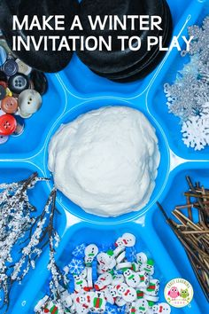 How to Easily Make a Winter Playdough Tray Playdough Activities, Motor Activities, Winter Activities, Winter Thema, Snow Theme, Build A Snowman, Preschool Themes, Fine Motor, Crafts For Kids