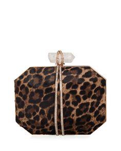 Iris+Calf+Hair+Box+Clutch+Bag,+Leopard+by+Marchesa+at+Bergdorf+Goodman.