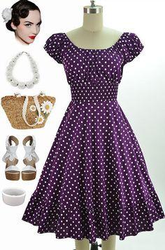 Style Purple & White Polka Dots Pinup Peasant Top On/Off The Shoulder Dress Pin Up Dresses, Plus Size Dresses, Dress Up, Fashion Dresses, Peasant Tops, Up Girl, Beautiful Dresses, Vintage Dresses, Shoulder Dress