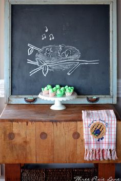 Spring...  Chalkboard from Charleston window screen with drawer pulls as chalk holders DIY