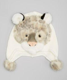 Loving this Jeanne Simmons Accessories Ivory Snow Leopard Earflap Beanie on #zulily! #zulilyfinds