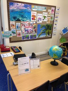 Our travel agents/airport role play area. Early years classroom, around the world, places!
