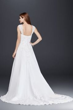 Designed with elegance in mind, this A-line wedding dress with detachable cap sleeves features a chiffon split front overlay and metallic embroidery. It\'s a perfect option for an untraditional weddin Sell Wedding Dress, Wedding Dress Sleeves, Bridal Wedding Dresses, Wedding Dress Styles, Dream Wedding Dresses, Formal Wedding, Wedding Hair, Sheath Wedding Gown, Tea Length Dresses