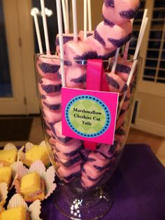Alice in Wonderland Party Cheshire Cat Tails, Marshmellow and Chocolate