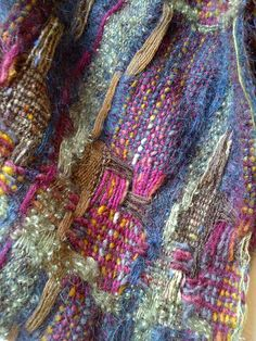 Irish Heather - Handwoven shawl hand dyed extra long shawl, in dark teal, coffee brown, woodbine green and phlox purple from Just Weaving Weaving Textiles, Weaving Art, Loom Weaving, Tapestry Weaving, Hand Weaving, Art Du Fil, Weaving Projects, Tear, Fabric Manipulation