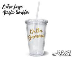 DG Delta Gamma Metallic Gold XL Tumbler // Sorority by UptownGreek