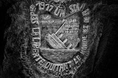 WWI Graffiti: Carving reads 'Liberty leaving the world, September, 1917, a soldier of the 278, the disasters of the 20th Century, the sun of my youth'. Picardy, France. copyright 2013, Jeffrey Gusky. All Rights Reserved. Jeffrey Gusky, c/o attorney at P.O. Box 2526, Addison, TX 75001-2526. photos@jeffgusky.com
