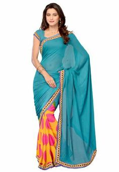 Fabdeal Indian Designer Wear Blue & Yellow Printed With Lace Border Saree Fabdeal Inc, http://www.amazon.fr/dp/B00HWULIWA/ref=cm_sw_r_pi_dp_B4qotb0Y4PXGF