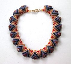 Items similar to handmade beaded collar necklace / Textural Blue Purple and Red Flat Cellini Beaded Necklace / Beadweaving / Beadwork on Etsy Crochet Beaded Bracelets, Beaded Jewelry, Beaded Necklaces, Beaded Collar, Collar Necklace, Wave Jewelry, Unusual Jewelry, Pearl Flower, Peyote Stitch