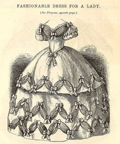 Godey's Lady's Book, June 1860 ~ Fashionable Dress For A Lady. #Victorian #fashion #dresses
