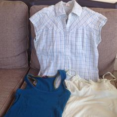 Bundle of 3 Light colored button down size large from weathervane ( runs small). A blue tank top from forever 21 size large. And a pale yellow tank top size large from American Eagle. All have been worn. American Eagle Outfitters Tops Tank Tops