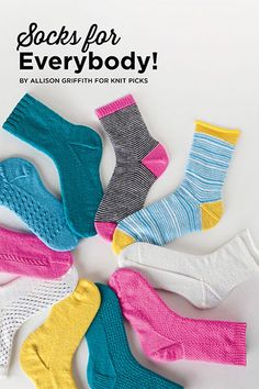 Socks for Everybody! 14 detailed, photo-illustrated tutorials guide you every step of the way, with instructions for both toe up and top down and 11 stitch patterns to choose from.