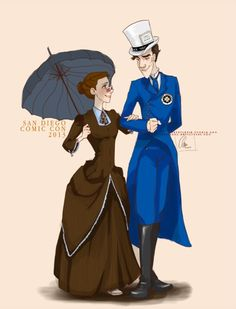 Art || Someone said it was Molly and Sherlock cosplaying Ten and the Tardis, but I like to think of it as Anita and Roger from Dalmatian 101.