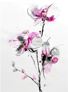 BELLY TATTOO IDEA. Love some things; the grey with pink and the smearing watercolor. Prefer 2 flowers instead of 3. Like the top and bottom flowers the best. Flowers may be too large for what I'm looking for though.