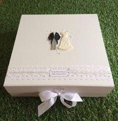 Personalised White Wedding Keepsake Box/Wedding Gift Box With Lace & Pearl Wedding Keepsake Boxes, Wedding Gift Boxes, Wedding Keepsakes, Wedding Gifts, White Lace, Weddings, Pearls, Ebay, Wedding Vouchers