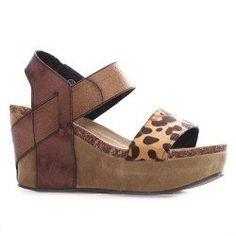Pierre Dumas Leopard/Brown Wedge Shoes