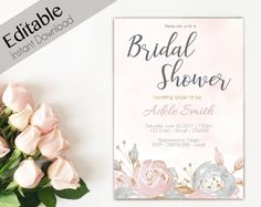 Bridal Shower Template Watercolour Flower Bridal Shower Invitation Template 5X7  Bridal .
