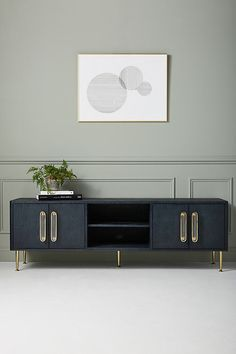 Odetta Media Console - Best Room Decorations for Your Home Plywood Furniture, Hanging Furniture, Design Furniture, Cool Furniture, Furniture Online, Media Furniture, Eclectic Furniture, Sideboard Furniture, Blue Furniture