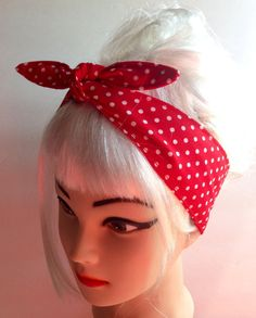 White on Red Polka dots Headband Pinup Vintage Retro Style 50s Rockabilly