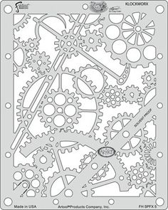 Craig Frasers Steampunk FX Airbrush Stencils Paint Template Set of 6 Artool in Crafts, Art Supplies, Airbrushing Stencil Templates, Stencil Patterns, Stencil Painting, Stencil Designs, Embroidery Patterns, Hand Embroidery, Printable Stencils, Free Printable, Kirigami
