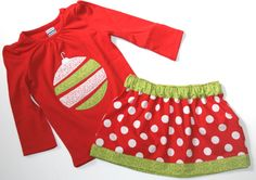 Girls Christmas Skirt and Top Outfit with Riley Blake Red Dot. $36.00, via Etsy.