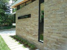 pierre de parement et extérieur de design moderne de maison en beige