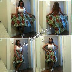 High-low afri print skirt