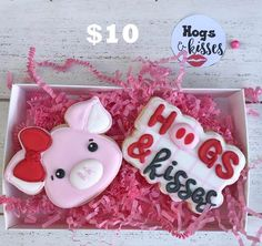 This option is for 2 cookies in a box with tag that says Hogs & Kisses $10 #customcookies #valentinesdaycookies #hogsandkisses #vdaycookies…