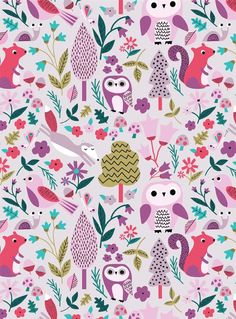 Owl Pattern by Kirsti Davidson. Owl Wallpaper, Cute Wallpaper For Phone, Cute Wallpaper Backgrounds, Pattern Wallpaper, Fall Patterns, Pretty Patterns, Textures Patterns, Fabric Patterns, Kids Patterns